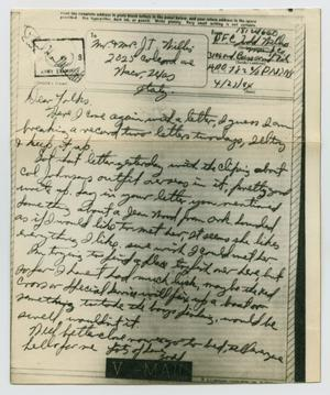 Primary view of object titled '[Letter from John Todd Willis, Jr. to his Parents, April 23, 1944]'.