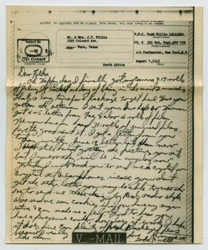 Primary view of object titled '[Letter from John Todd Willis, Jr. to his Parents, August 7, 1943]'.