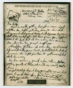 Primary view of object titled '[Letter from John Todd Willis, Jr. to his Parents, August 30, 1944]'.