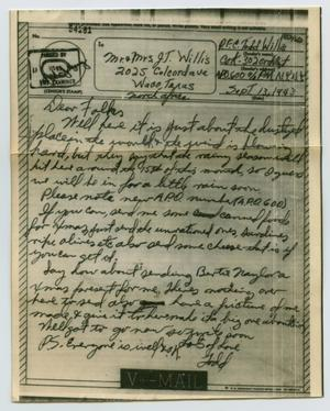 Primary view of object titled '[Letter from John Todd Willis, Jr. to his Parents, September 13, 1943]'.