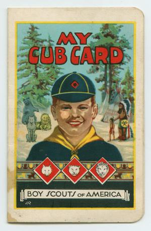 Primary view of object titled '[John Todd Willis, Jr.'s Cub Scout Card]'.