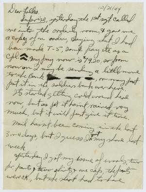 Primary view of object titled '[Letter from John Todd Willis, Jr. to his Parents, October 21, 1944]'.