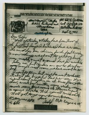 Primary view of object titled '[Letter from John Todd Willis, Jr. to his Parents, September 17, 1943]'.