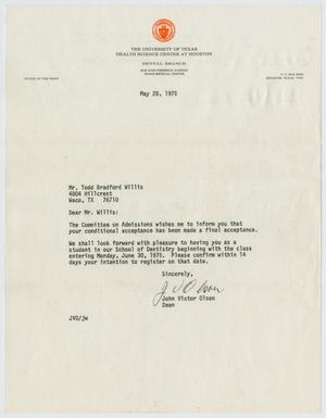 Primary view of object titled '[Letter from John Victor Olson to Todd Bradford Willis, May 28, 1975]'.