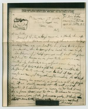 Primary view of object titled '[Letter from John Todd Willis, Jr. to his Parents, November 16, 1944]'.