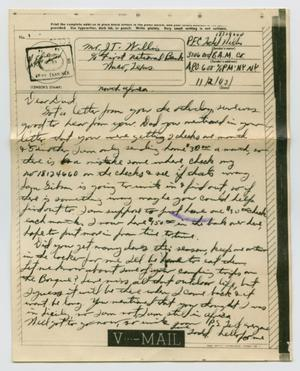 Primary view of object titled '[Letter from John Todd Willis, Jr. to his Parents, November 2, 1943]'.