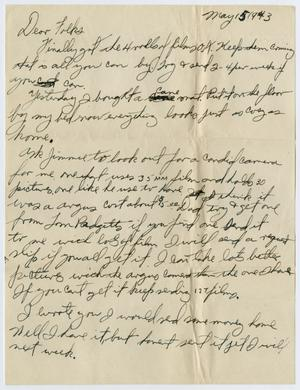 Primary view of object titled '[Letter from John Todd Willis, Jr. to his Parents, May 15, 1943]'.