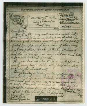 Primary view of object titled '[Letter from John Todd Willis, Jr. to his Parents, December 6, 1944]'.