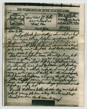 Primary view of object titled '[Letter from John Todd Willis, Jr. to his Parents, November 26, 1943]'.