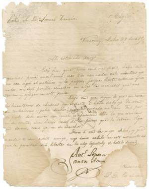 Primary view of object titled '[Letter from Santa Anna to Zavala, July 22, 1829]'.