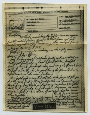 Primary view of object titled '[Letter from John Todd Willis, Jr. to his Parents, August 14, 1943]'.