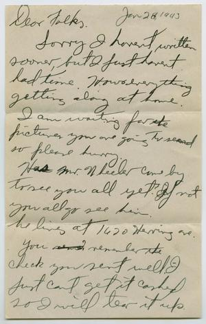 Primary view of object titled '[Letter from John Todd Willis, Jr. to his Parents, January 28, 1943]'.