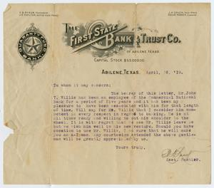 Primary view of object titled '[Letter Concerning John T. Willis, Sr., April 16, 1919]'.