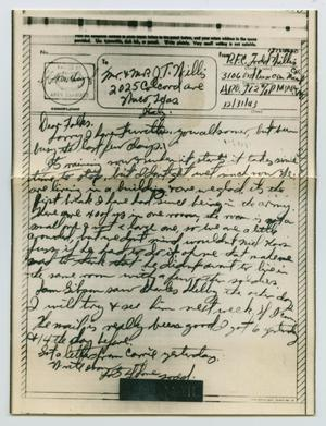 Primary view of object titled '[Letter from John Todd Willis, Jr. to his Parents, December 31, 1943]'.