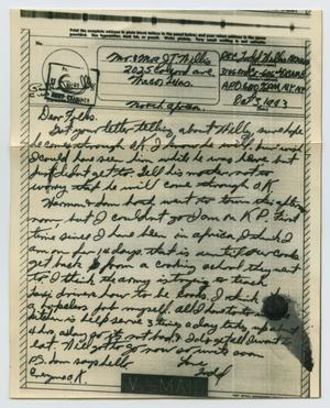 Primary view of object titled '[Letter from John Todd Willis, Jr. to his Parents, October 3, 1943]'.