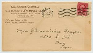 Primary view of object titled '[Envelope Addressed to Johnie Louise Bruyere, February 8, 1934]'.