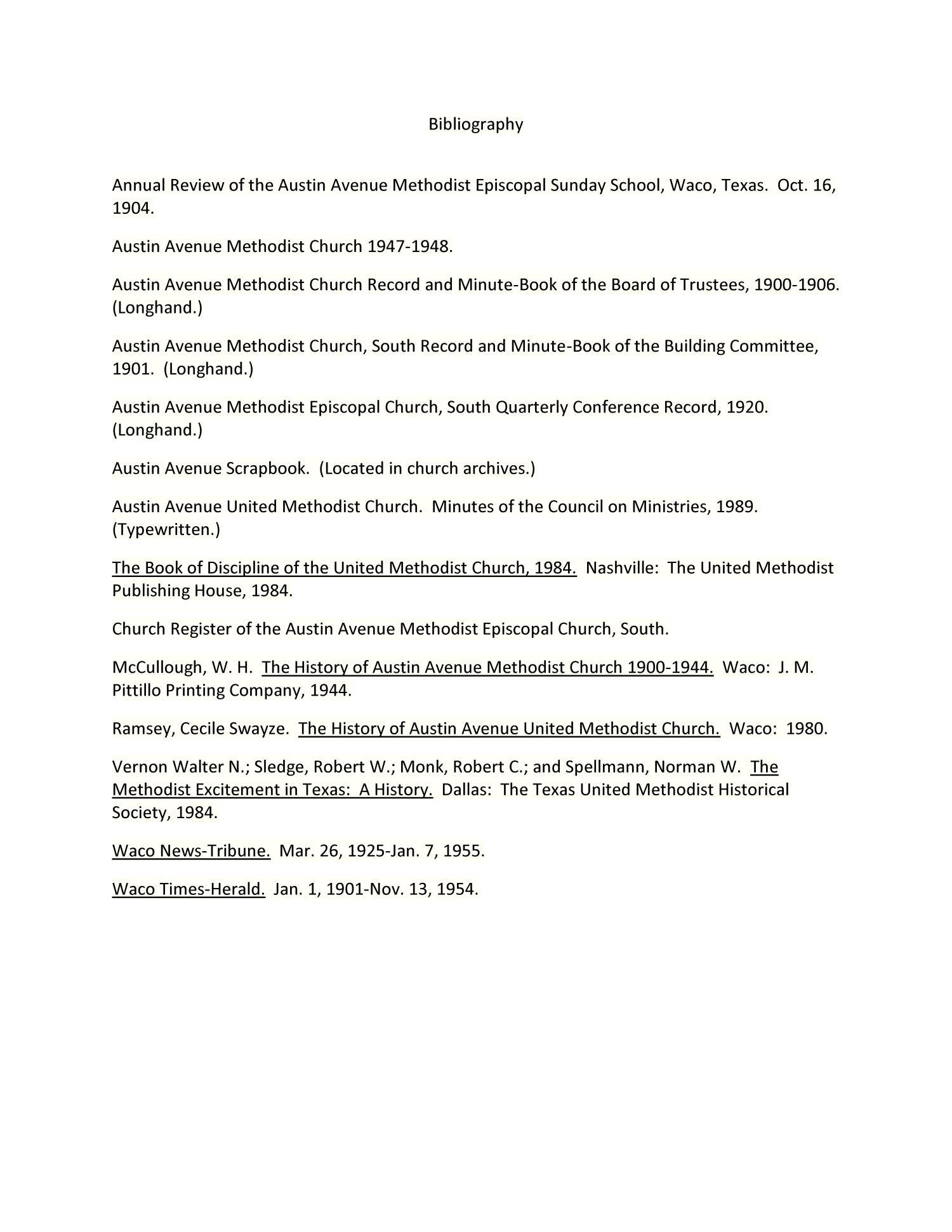 A Brief History of The Austin Avenue United Methodist Church