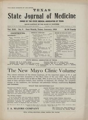 Primary view of object titled 'Texas State Journal of Medicine, Volume 13, Number 9, January 1918'.