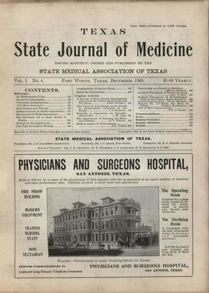 Primary view of object titled 'Texas State Journal of Medicine, Volume 1, Number 6, December 1905'.