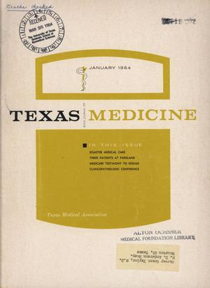 Primary view of object titled 'Texas State Journal of Medicine, Volume 60, Number 1, January 1964'.