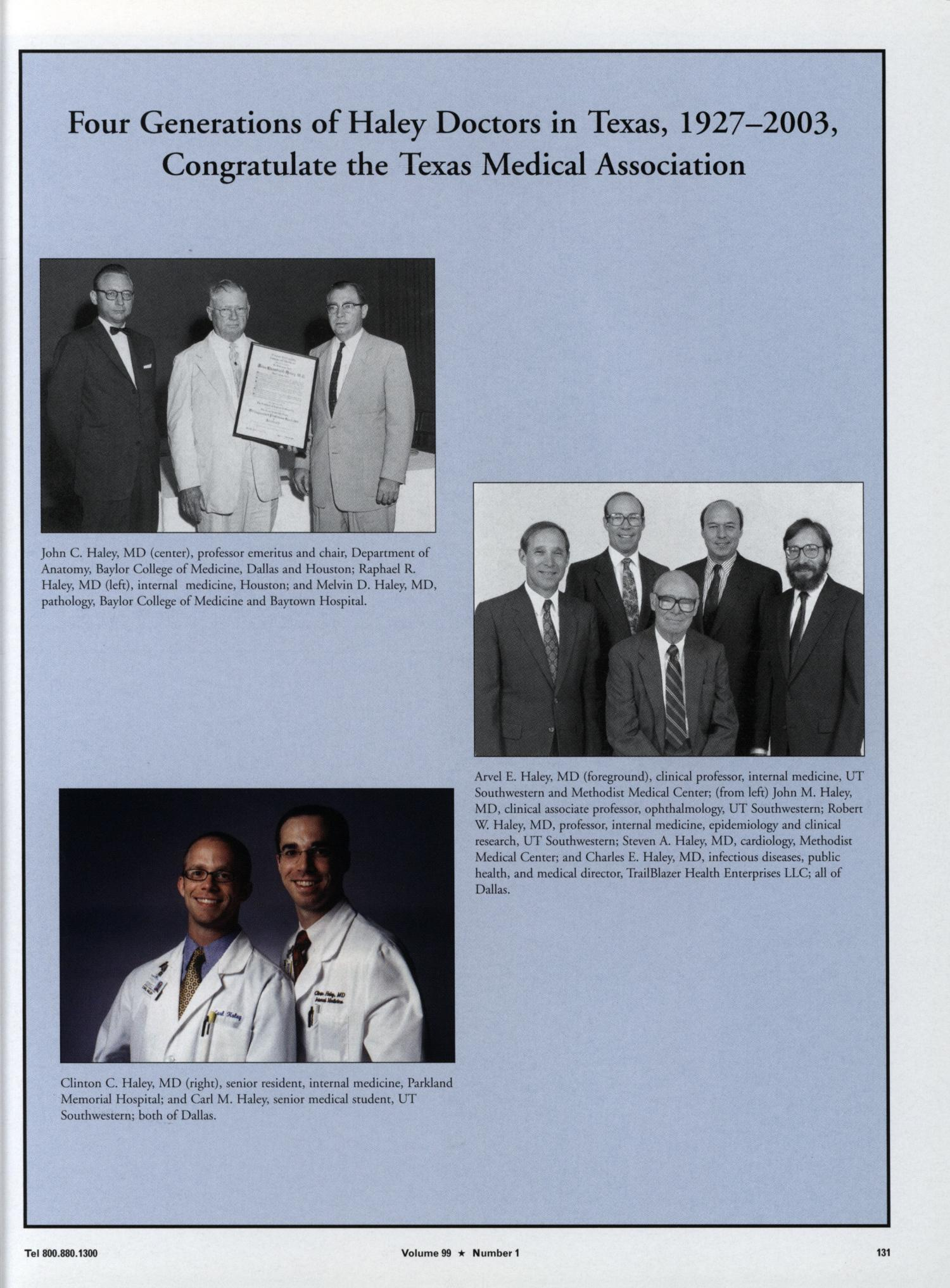 Texas Medicine, Volume 99, Number 1, January 2003 - Page 131