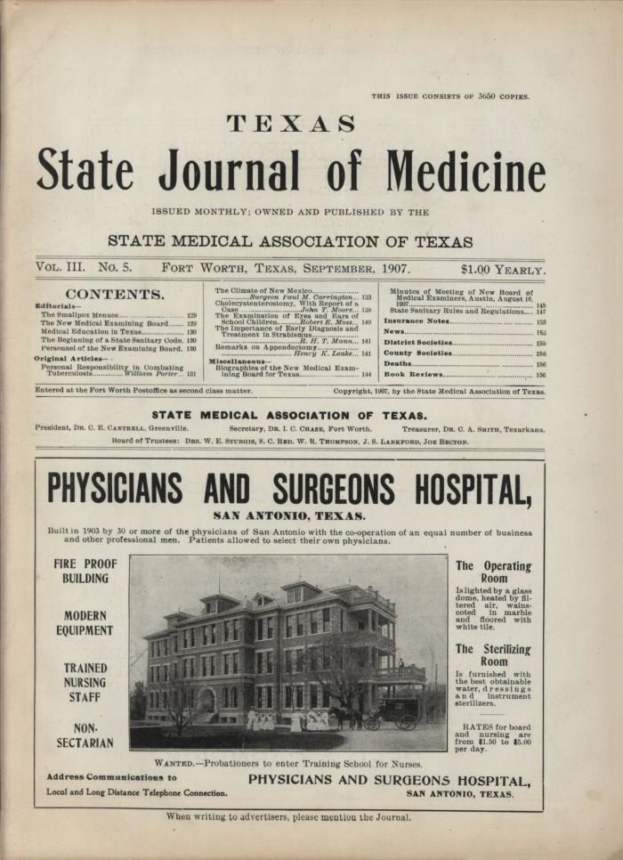 Texas State Journal of Medicine, Volume 3, Number 5, September 1907