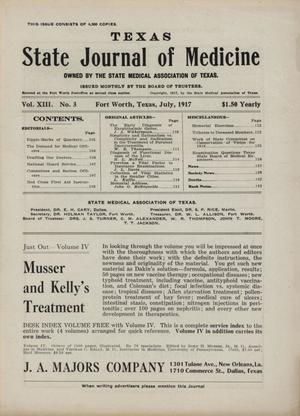 Primary view of object titled 'Texas State Journal of Medicine, Volume 13, Number 3, July 1917'.