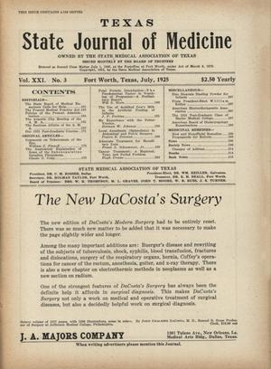 Primary view of object titled 'Texas State Journal of Medicine, Volume 21, Number 3, July 1925'.