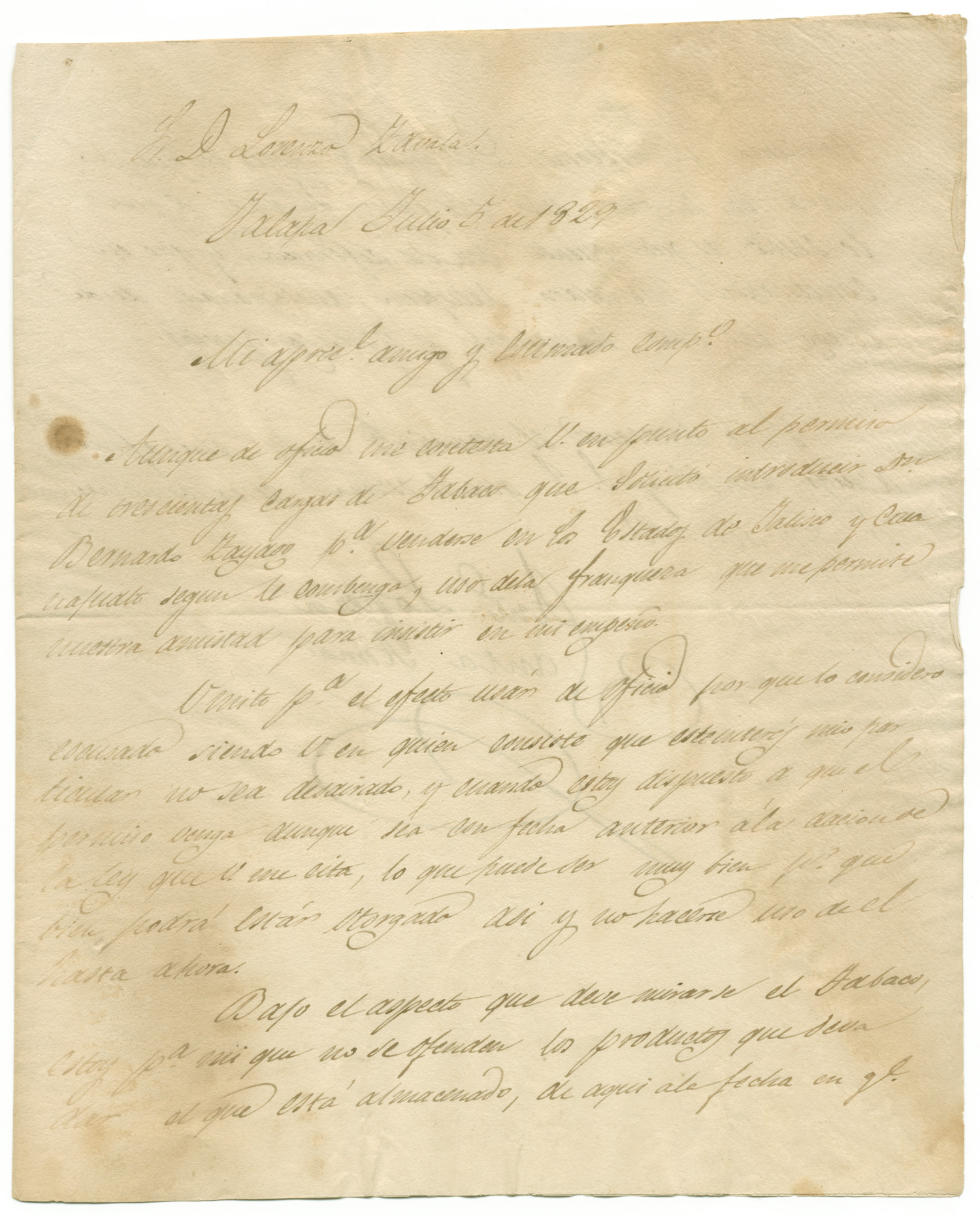 [Letter from Santa Anna to Zavala, July 5, 1829]                                                                                                      [Sequence #]: 1 of 1