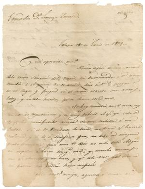 Primary view of object titled '[Letter from Santa Anna to Zavala, June 18, 1829]'.