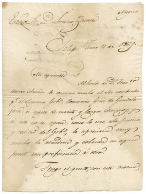 Primary view of object titled '[Letter from Santa Anna to Zavala, June 11, 1829]'.