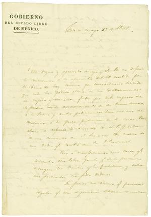 [Letter from Lorenzo de Zavala to Miguel Ramos de Arispe, May 29, 1827]
