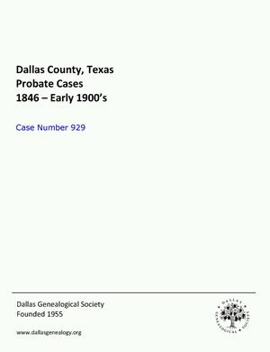 Primary view of object titled 'Dallas County Probate Case 929: Guthrie, V.I. (Deceased)'.