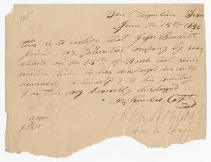 Primary view of [Honorable discharge] 1836 June 15 [of] Jesse Burditt [from Capt. Wm. Kimbro's] volunteer company