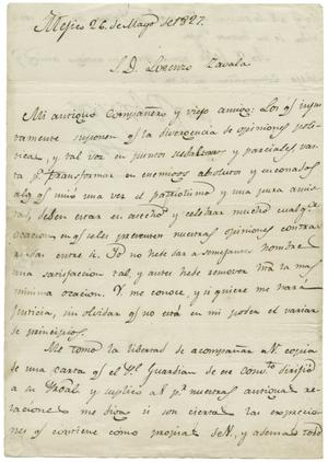 Primary view of object titled '[Letter from Miguel Ramos Arizpe to Lorenzo de Zavala, May 26, 1827]'.