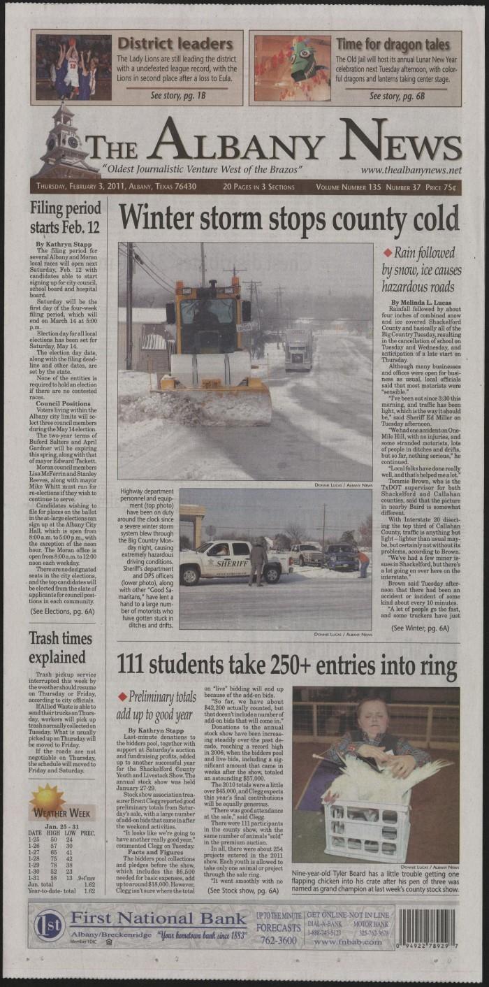 The Albany News (Albany, Tex ), Vol  135, No  37, Ed  1