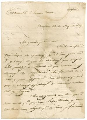 Primary view of object titled '[Letter from Santa Anna to Zavala, May 23, 1829]'.