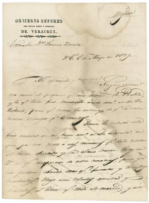 Primary view of object titled '[Letter from Santa Anna to Zavala, May 8, 1829]'.