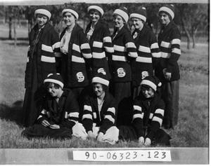 Primary view of object titled 'Nine Girls in School Uniforms'.