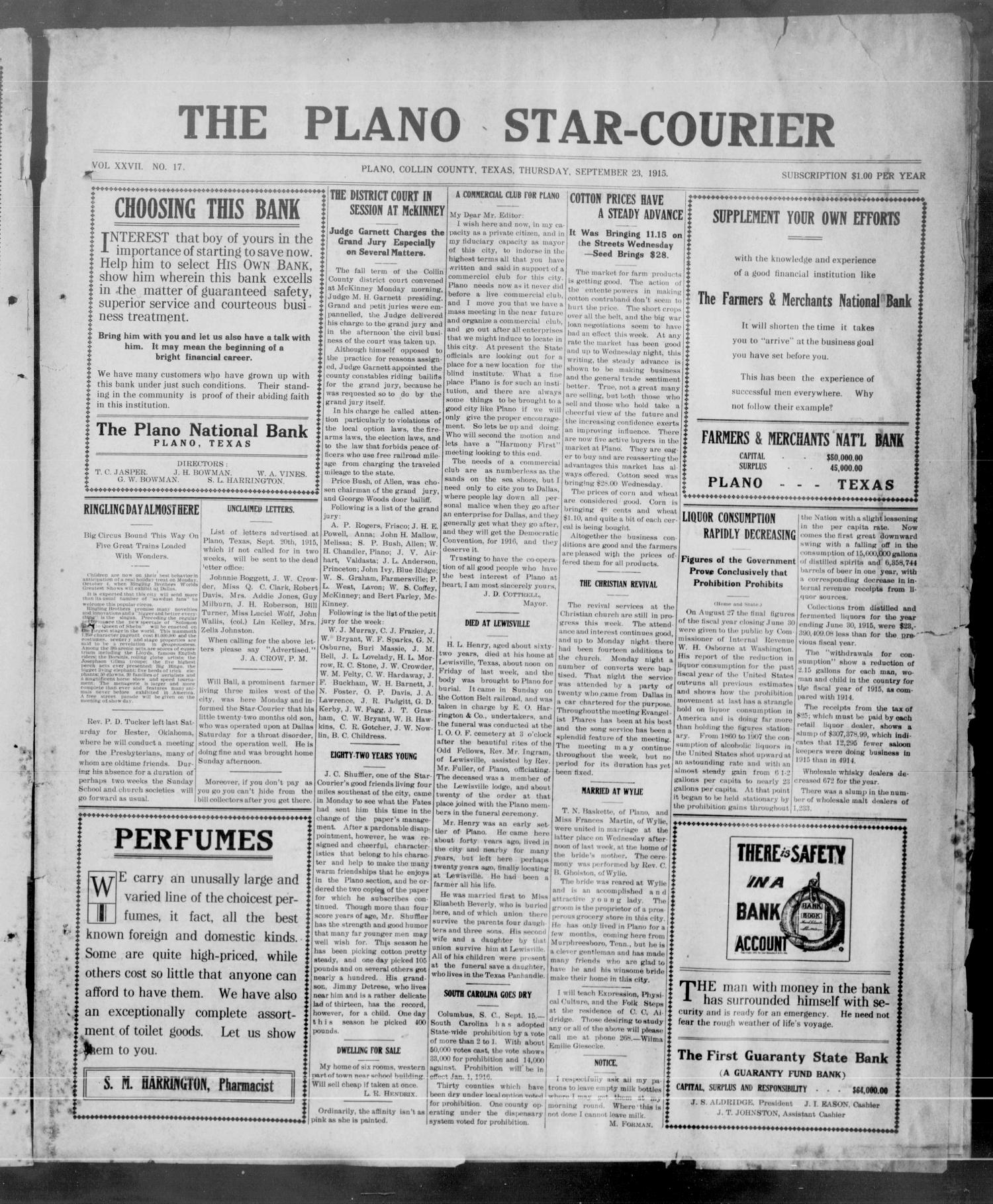 The Plano Star-Courier (Plano, Tex.), Vol. 27, No. 17, Ed. 1 Thursday, September 23, 1915                                                                                                      [Sequence #]: 1 of 8