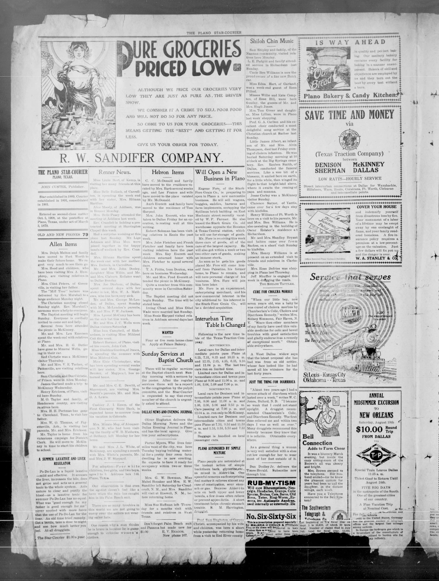 The Plano Star-Courier (Plano, Tex.), Vol. 28, No. 21, Ed. 1 Friday, August 11, 1916                                                                                                      [Sequence #]: 4 of 8