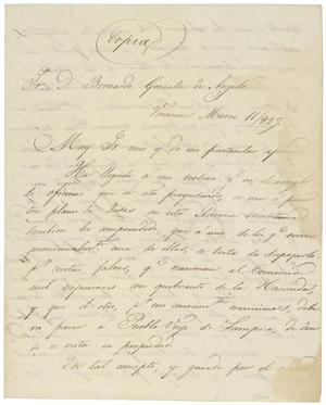 Primary view of object titled '[Letter from Antonio Lopez de Santa Anna to Bernardo Gonzalez de Angulo, March 11, 1829]'.