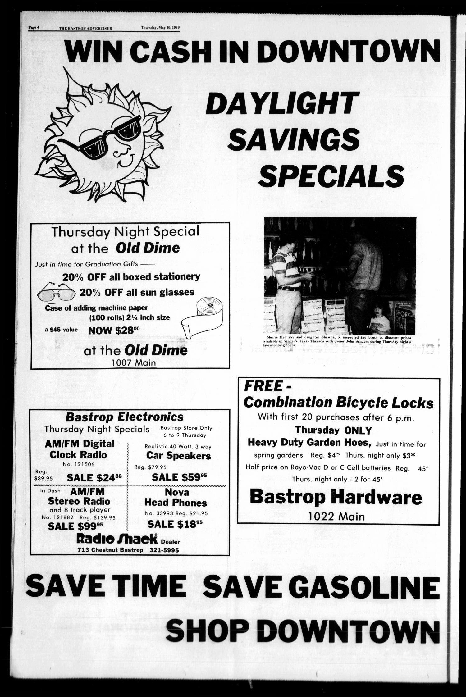 Bastrop Advertiser (Bastrop, Tex.), Vol. Includes supplement., No. 21, Ed. 1 Thursday, May 10, 1979                                                                                                      [Sequence #]: 4 of 14