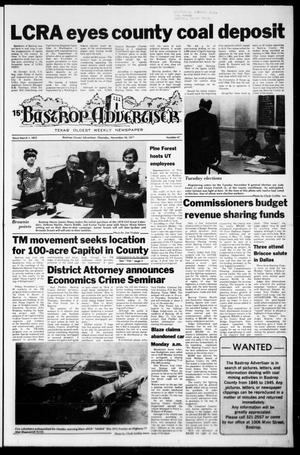 Primary view of object titled 'Bastrop Advertiser (Bastrop, Tex.), No. 47, Ed. 1 Thursday, November 10, 1977'.