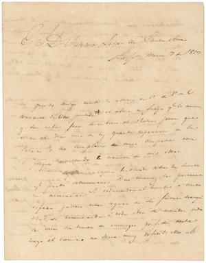 Primary view of object titled '[Letter from Zavala to Santa Anna, March 7, 1829]'.
