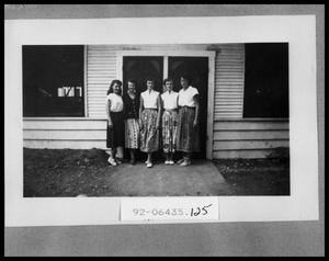 Primary view of object titled 'Five Girls Standing in Front of Cabin'.