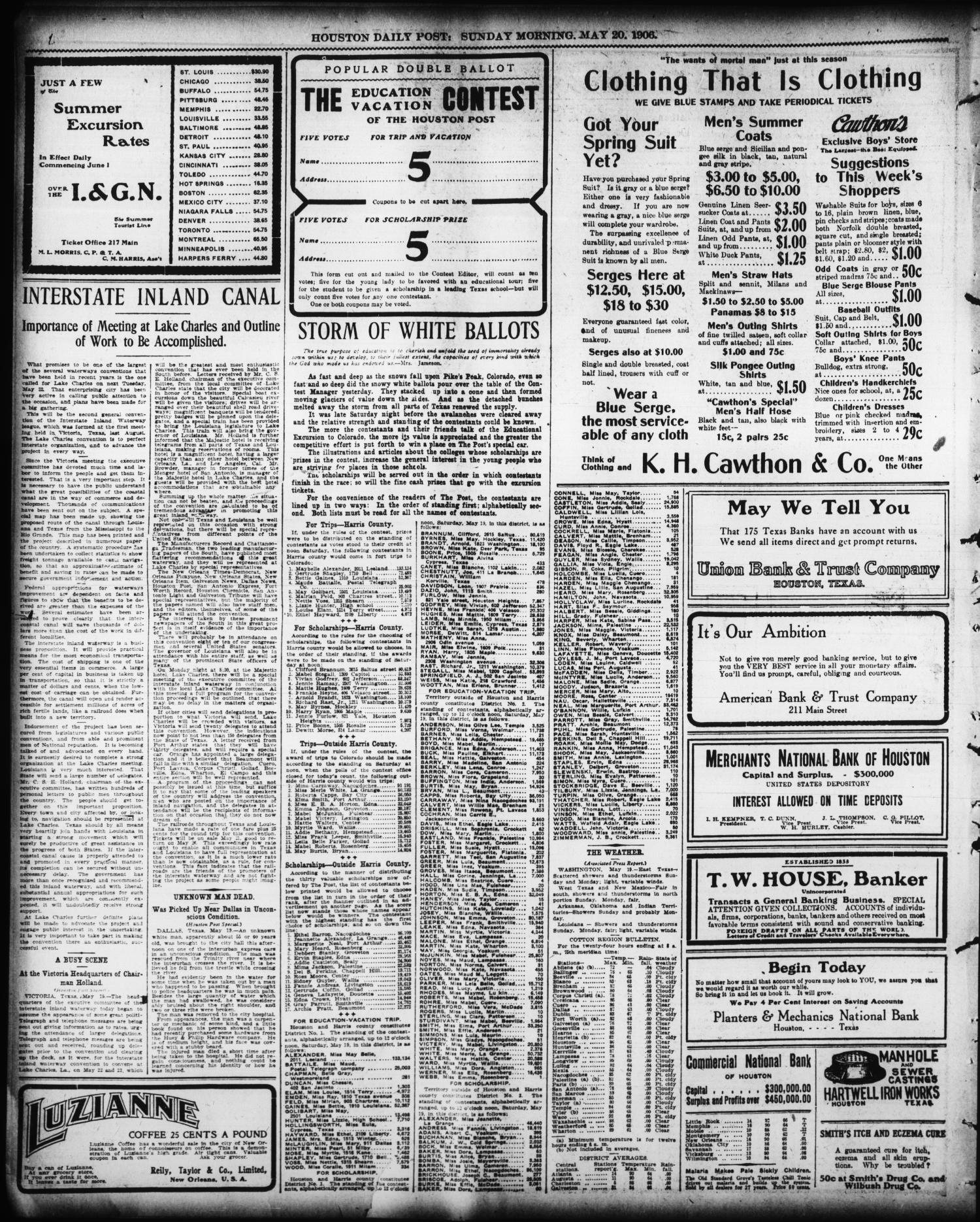 The Houston Post Tex Vol 22 Ed 1 Sunday May 20 Vouche Aeon Kredit Zt Plus 1906 Page 2 Of 52 Portal To Texas History