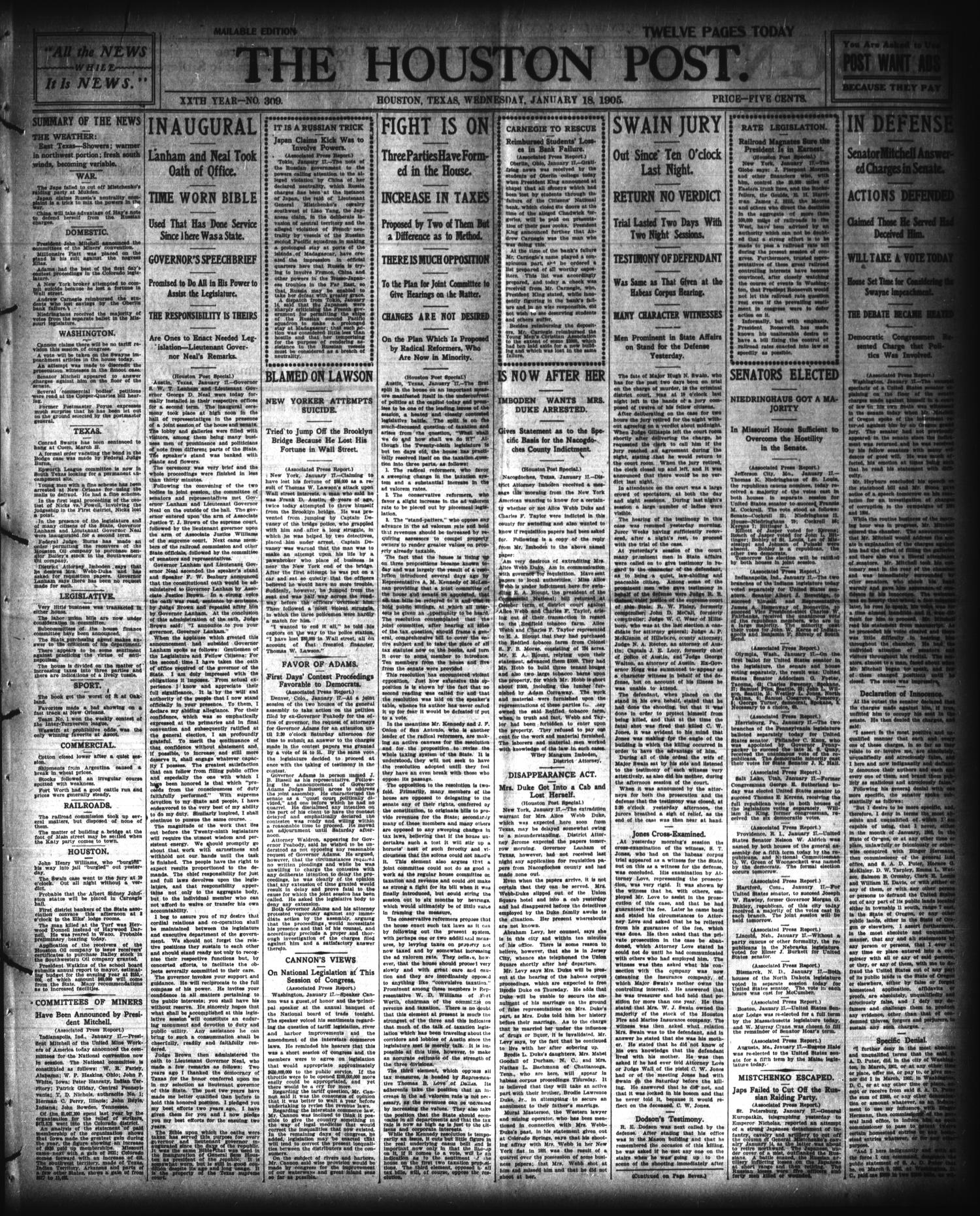 The Houston Post. (Houston, Tex.), Vol. 20, No. 309, Ed. 1 Wednesday, January 18, 1905                                                                                                      [Sequence #]: 1 of 12