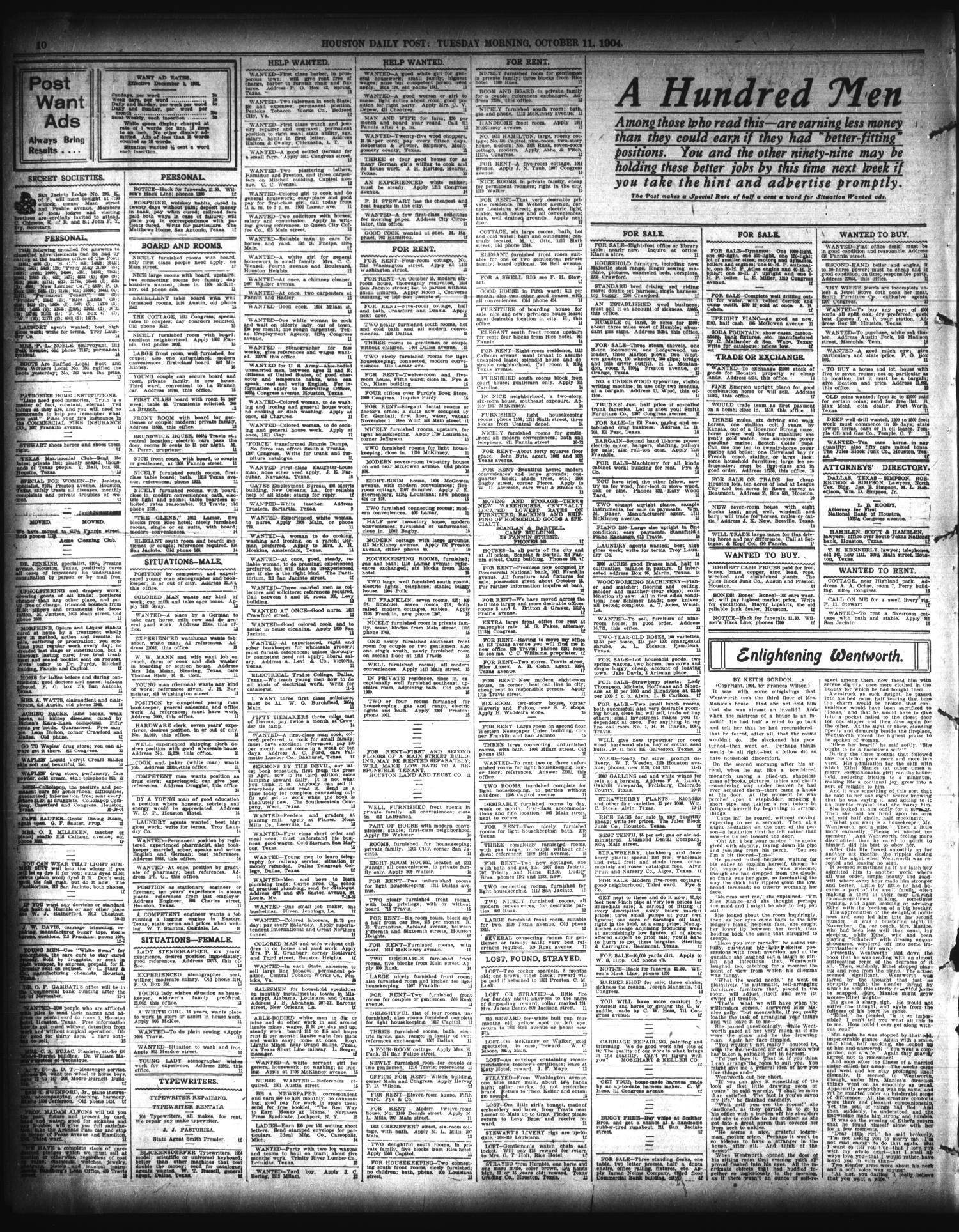ab9abb4e7 The Houston Post. (Houston, Tex.), Vol. 20, No. 210, Ed. 1 Tuesday, October  11, 1904 - Page 10 of 12 - The Portal to Texas History
