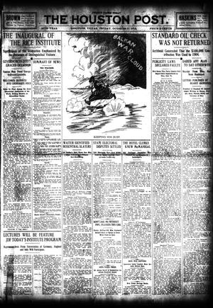 Primary view of object titled 'The Houston Post. (Houston, Tex.), Vol. 27, Ed. 1 Friday, October 11, 1912'.